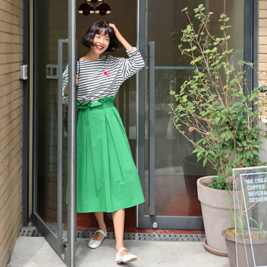 Withipun Side Zip A-Line Midi Skirt