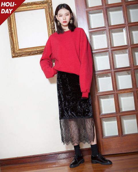 velvet lace long skirt (2 colors)