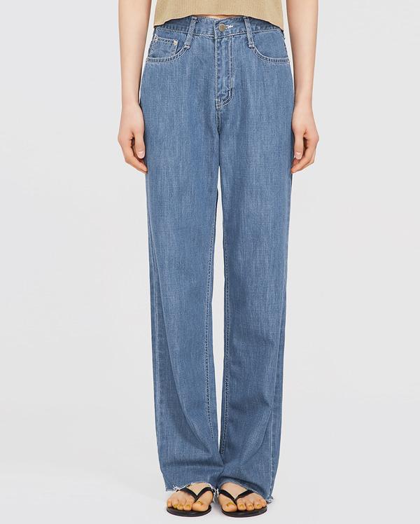 image stitch wide denim pants (s, m)