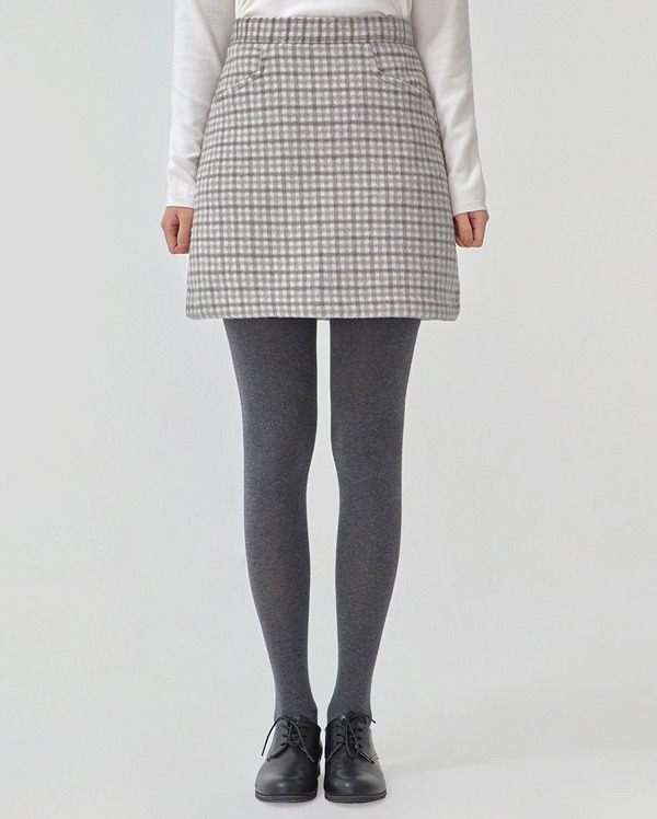 cheerful check wool mini skirt (s, m)