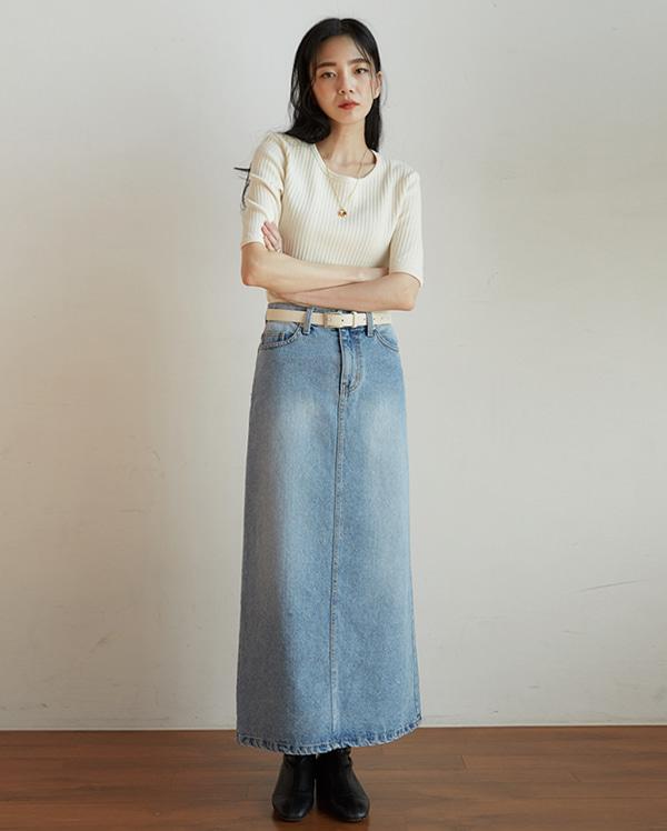 little denim long skirt (s, m)