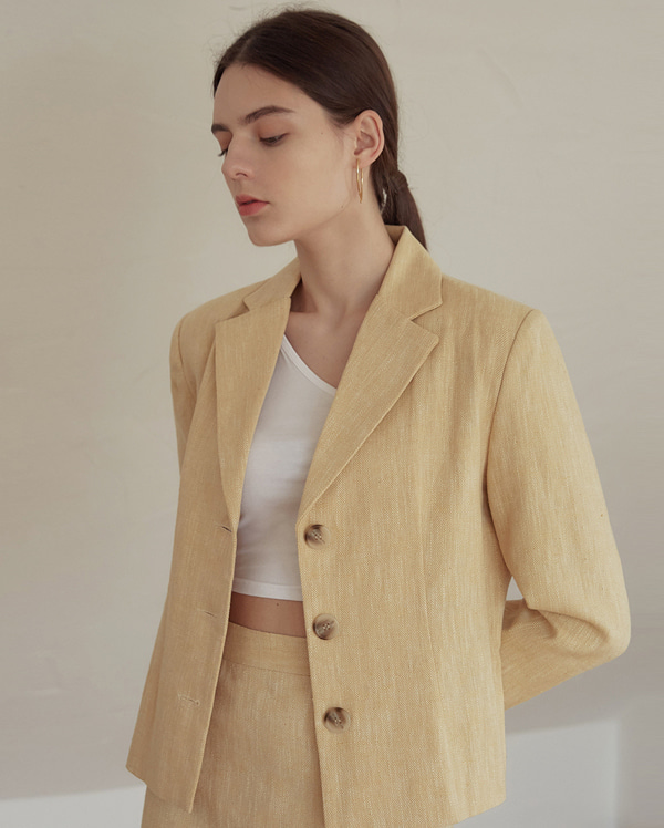 apron herringbone linen short jacket