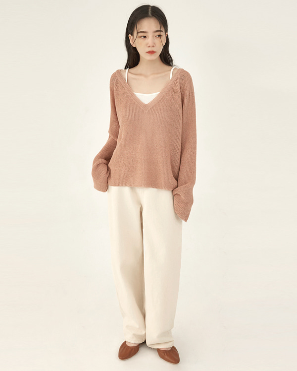 net loose v-neck knit