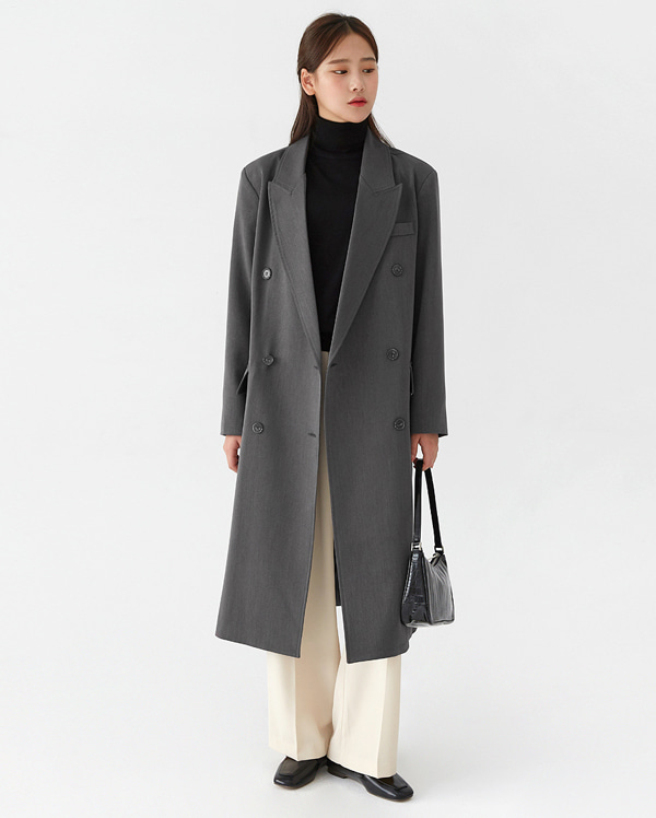 a classical long double coat