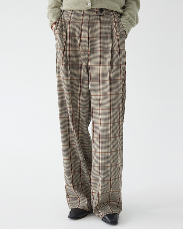 fall check wide pants