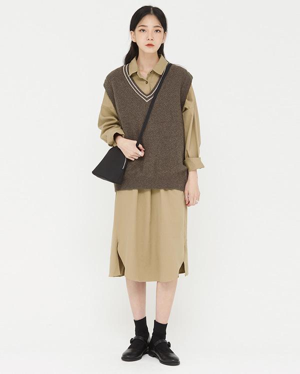 coso stripe wool v-neck vest