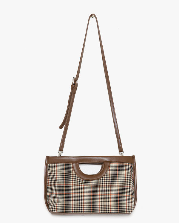 checkered strap tote bag