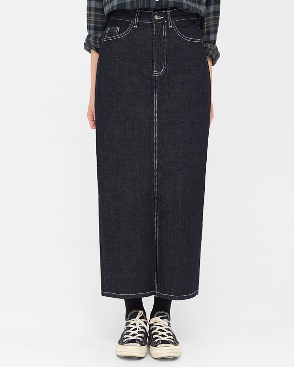a back slit denim skirt (s, m)