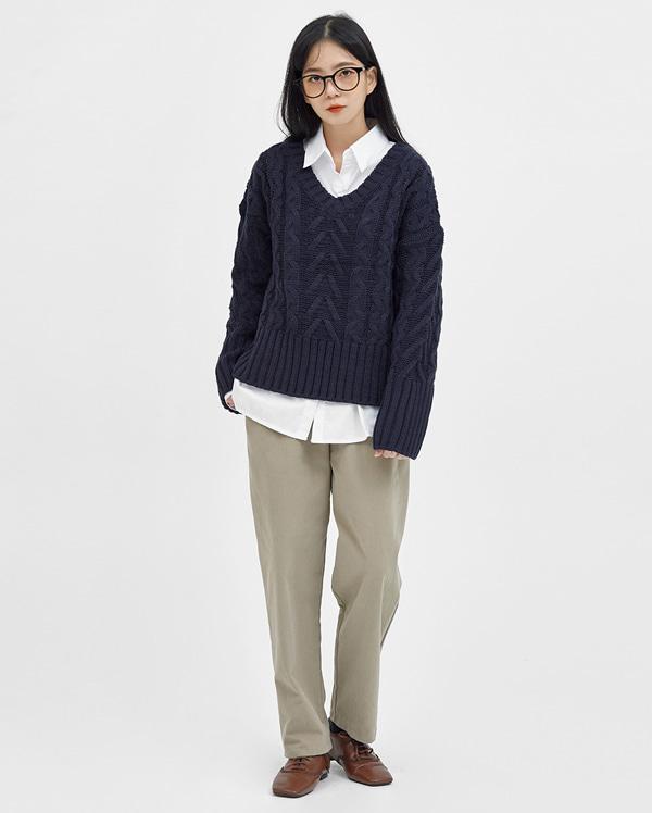 eve twist v-neck knit