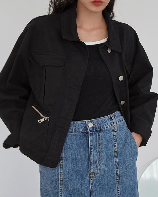 min zipper cotton jacket
