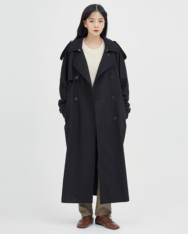 buckle double trench coat