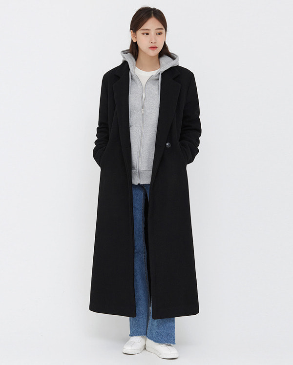 mannish single wool long coat