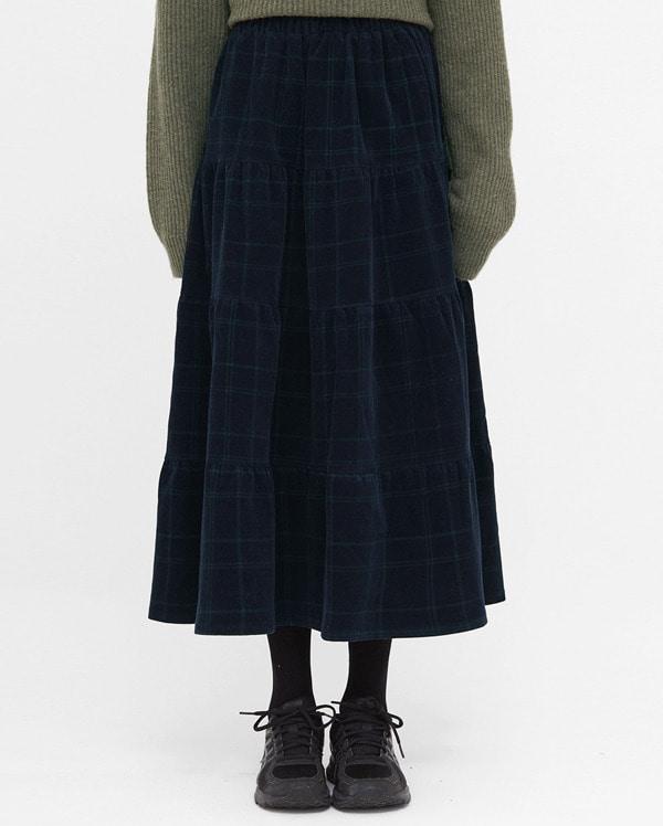 corduroy check long flare skirt