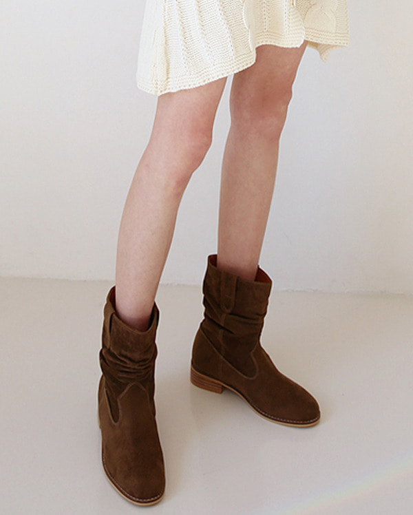 suede pleat short ankle boots (230-250)