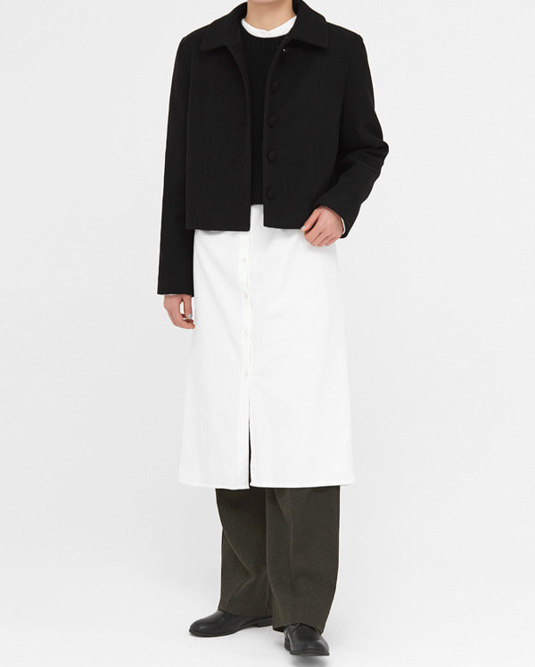 muse button wool short jacket