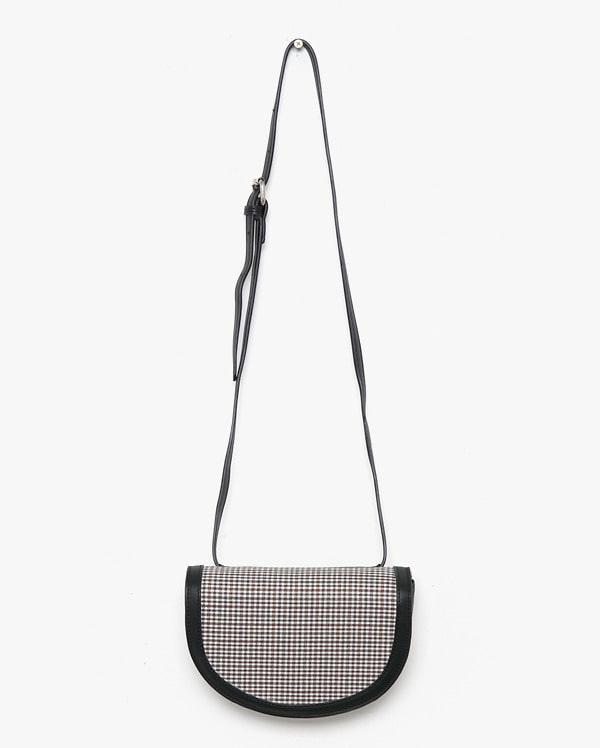a belt check half moon bag