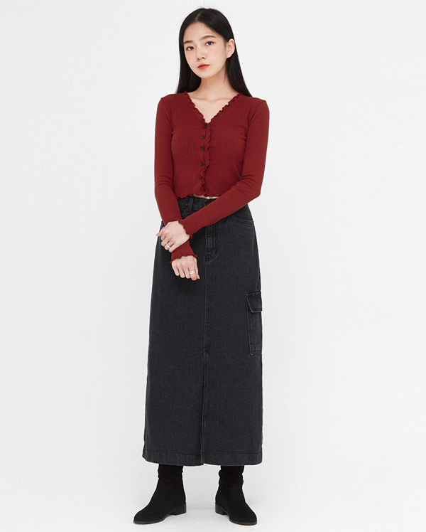 a cute v-neck ruffle cardigan T