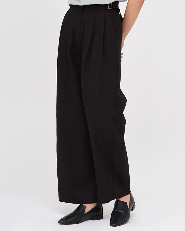 a buckle pintuck wide pants (s, m)