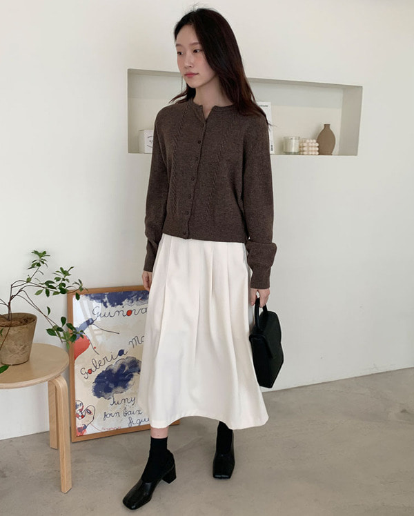 inoff wool cable cardigan