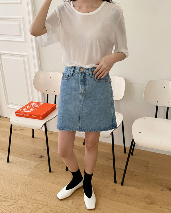 four denim mini skirts (s, m, l)
