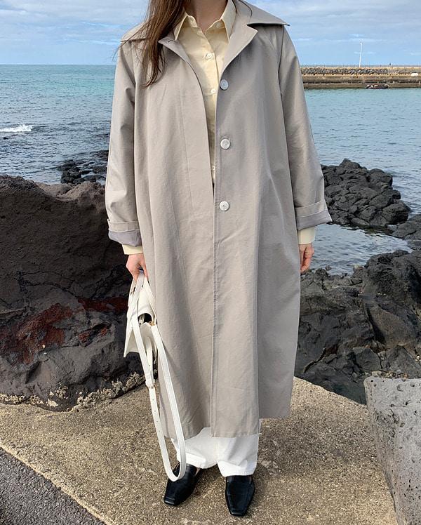 cham hidden button trench coat