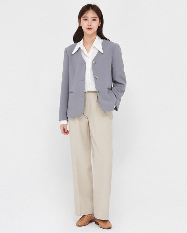 line simple button jacket