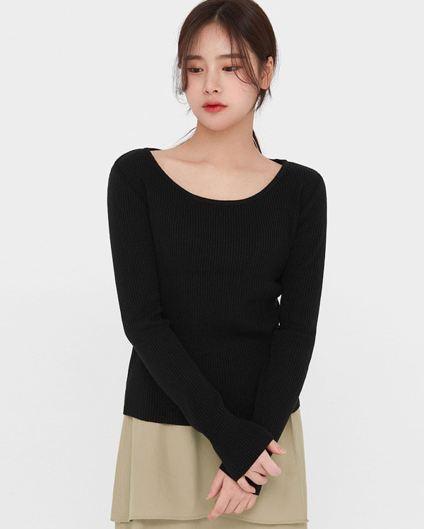 in slim golgi u-neck knit
