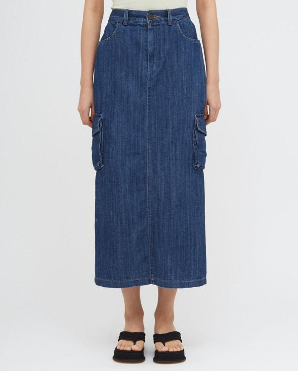 fig denim cargo long skirt