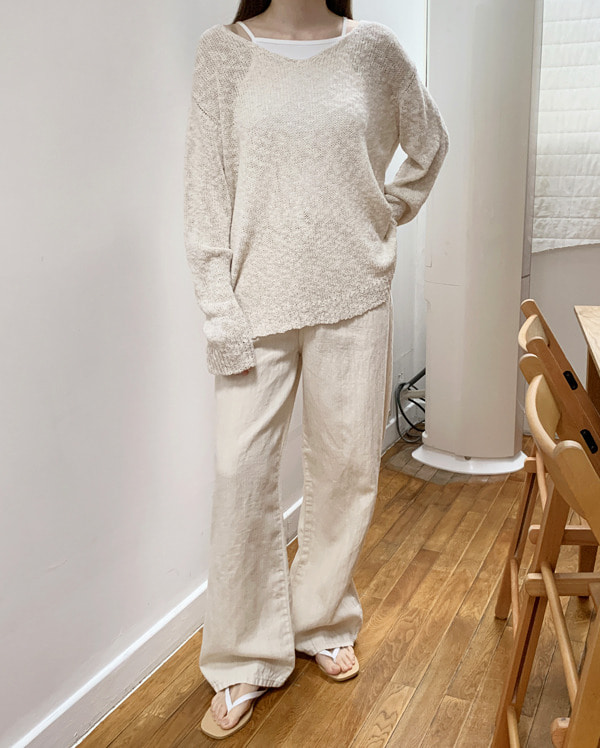 over linen wide pants