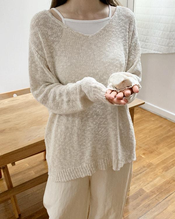 ray loose v-neck knit