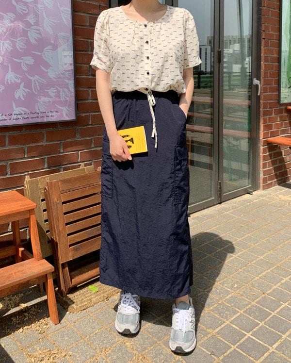 crispy cargo long skirt