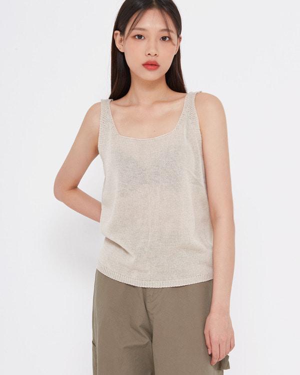 square neck knit sleeveless