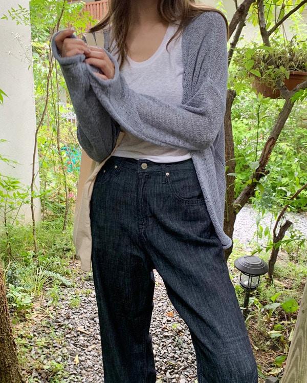 mesh knit cardigan