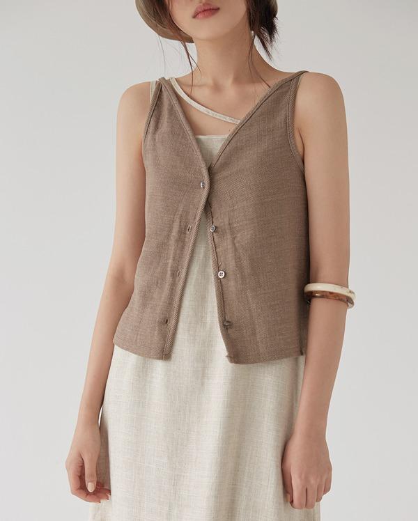 button V-neck vest