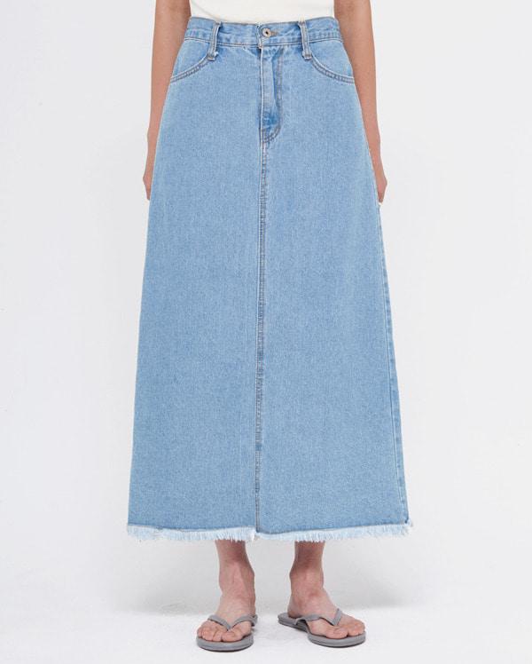 light denim long skirt