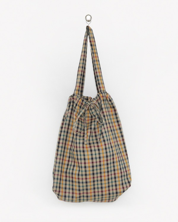 check cotton shoulder bag