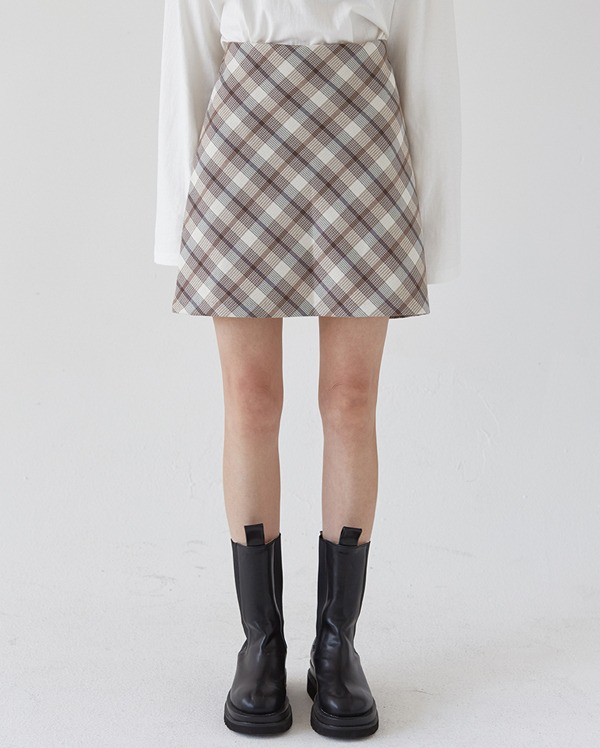 plaid check skirt (s,m)