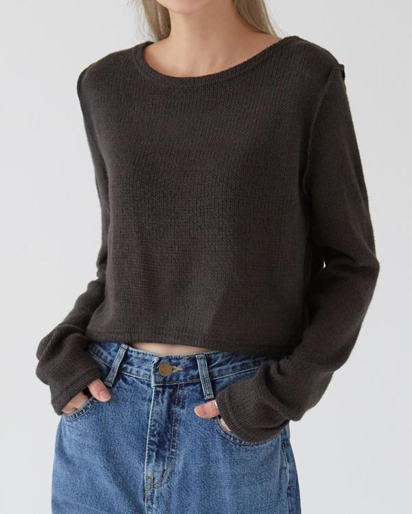 stay crop knit T
