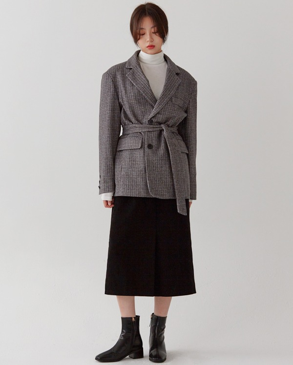 check button belted jacket