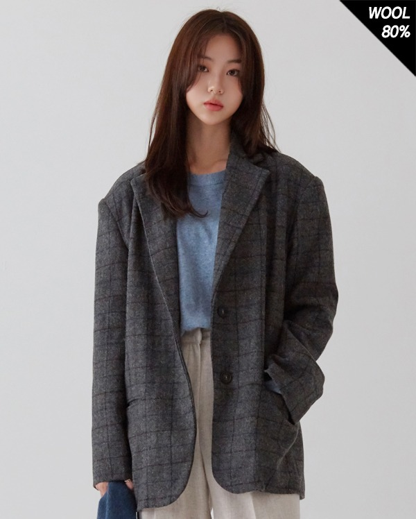 classic mood hound wool check jacket