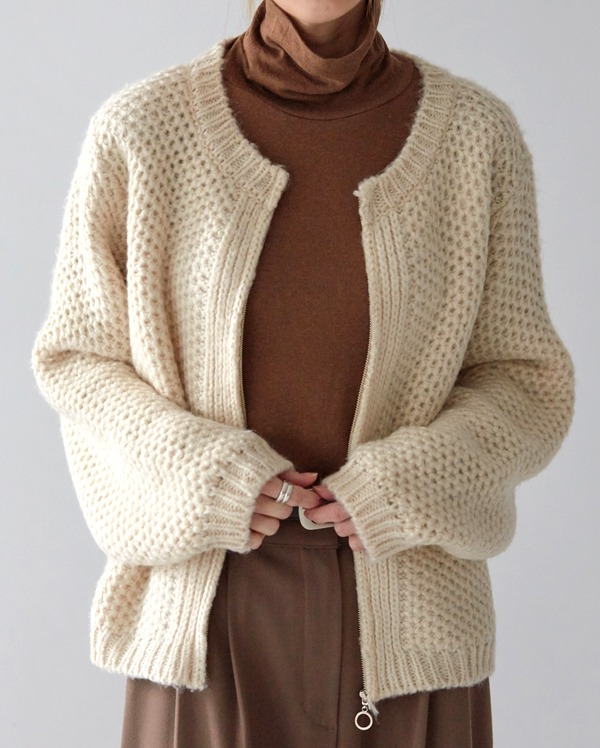 maple golgi zip-up knit