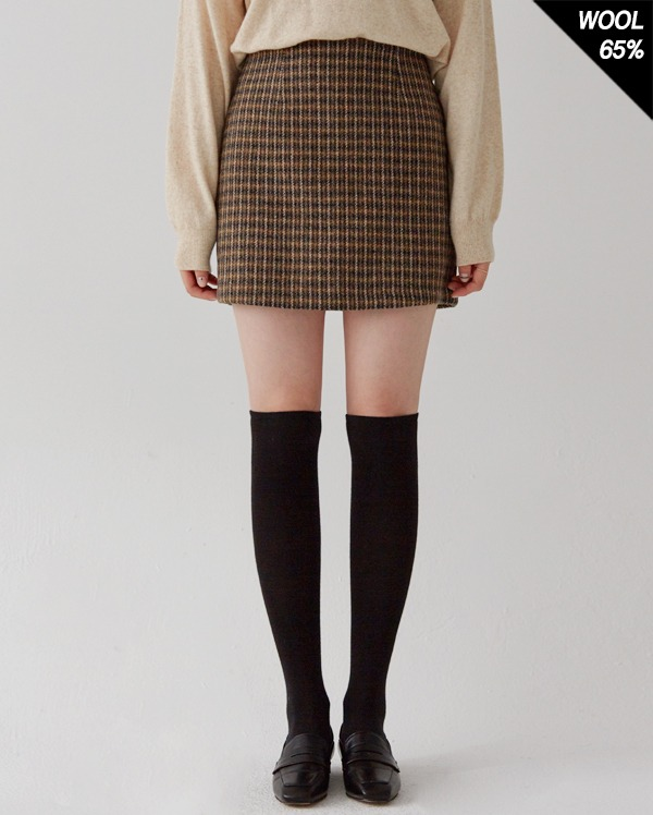 wool check H line set-up skirt (s, m)