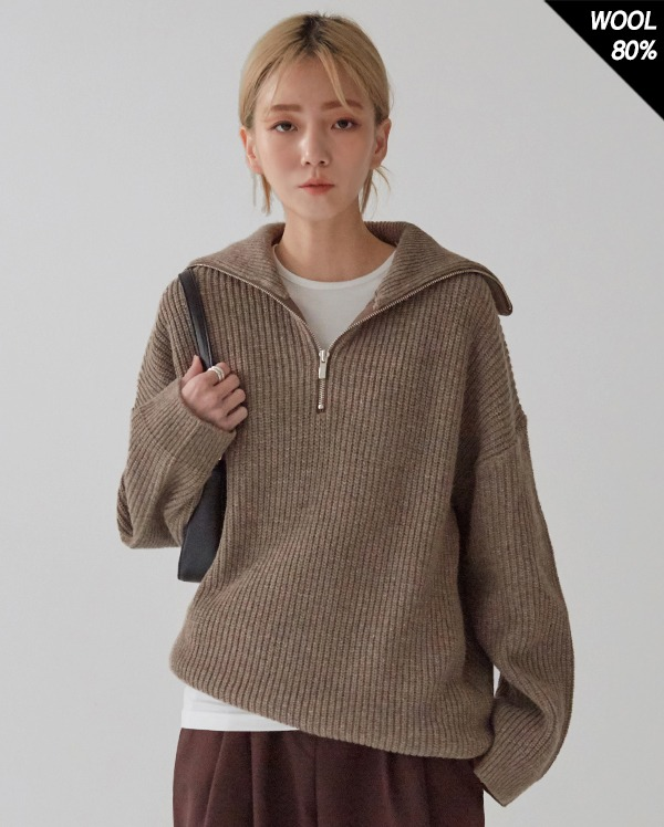 half neck zipper knit