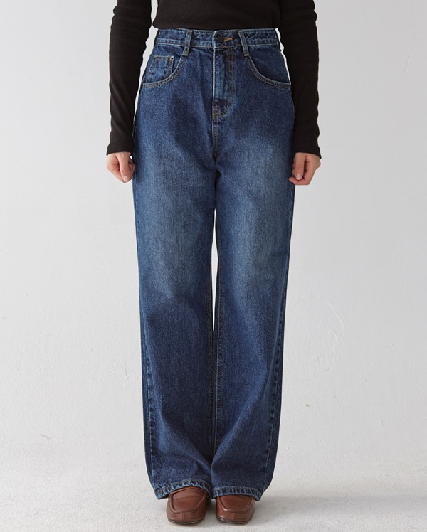 hard washing wide denim pants (s ,m ,l)