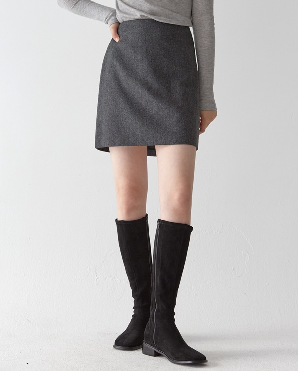 casual herringbone wool skirt (s, m)