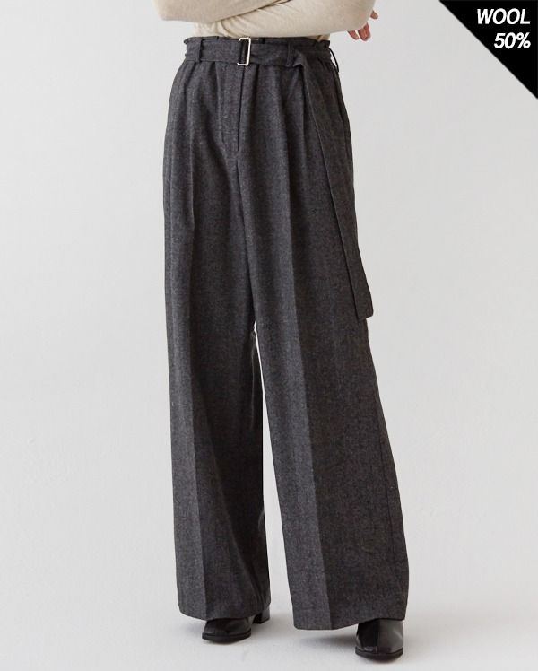 crush pintuck belt long slacks (s, m)