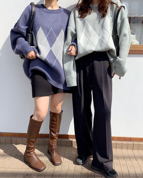 boxy argyle knit
