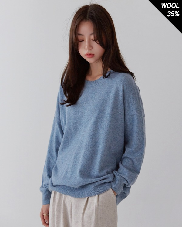 cashmere round combine knit