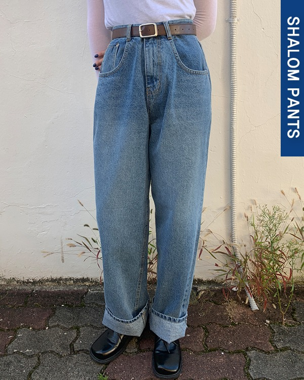 rough washing wide denim pants (s, m, l)
