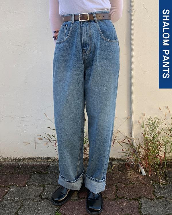 rough washing wide denim pants (s, m, l)